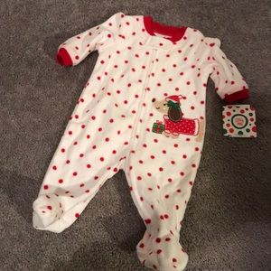 Red Christmas fleece dots puppy dog footie NWT